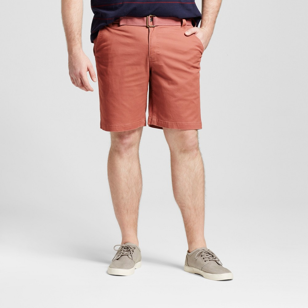 Mens Big & Tall Belted Flat Front Chino Shorts - Mossimo Supply Co. Red 52