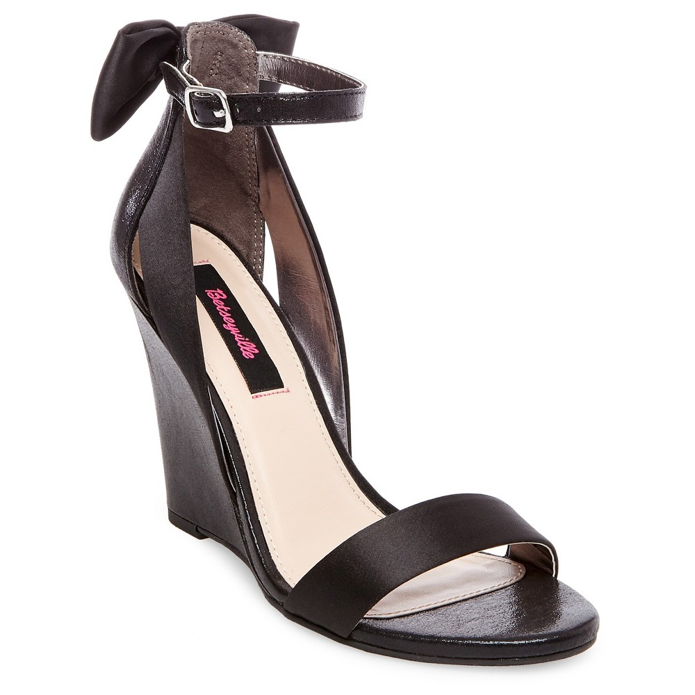 Womens Betseyville Petal Bow Back Wedge Heel Sandals - Black 7.5