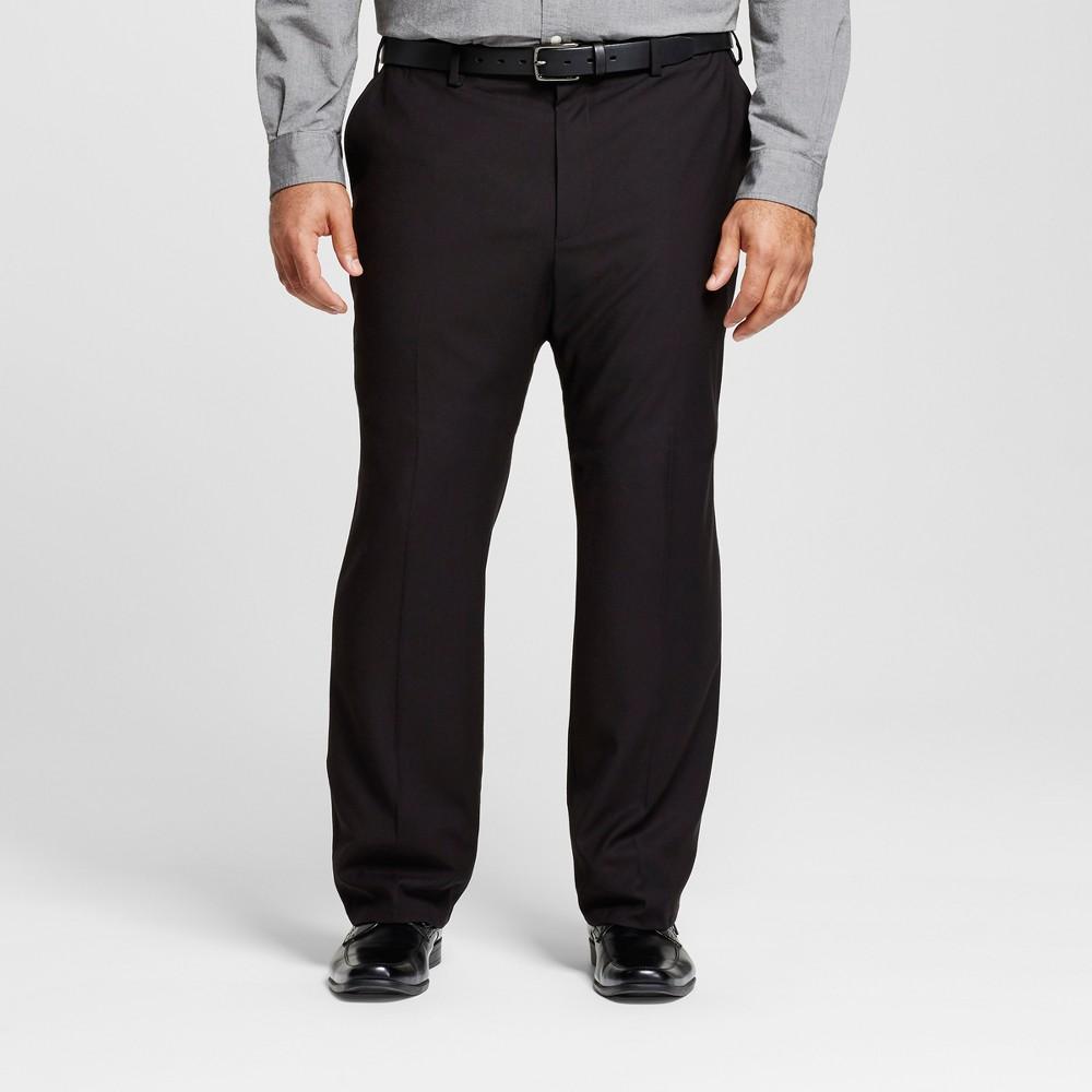Mens Big & Tall Classic Fit Suit Pants - Merona Black 44x36