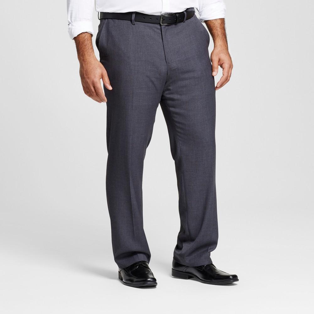 Mens Big & Tall Classic Fit Suit Pants - Merona Gray 44x34
