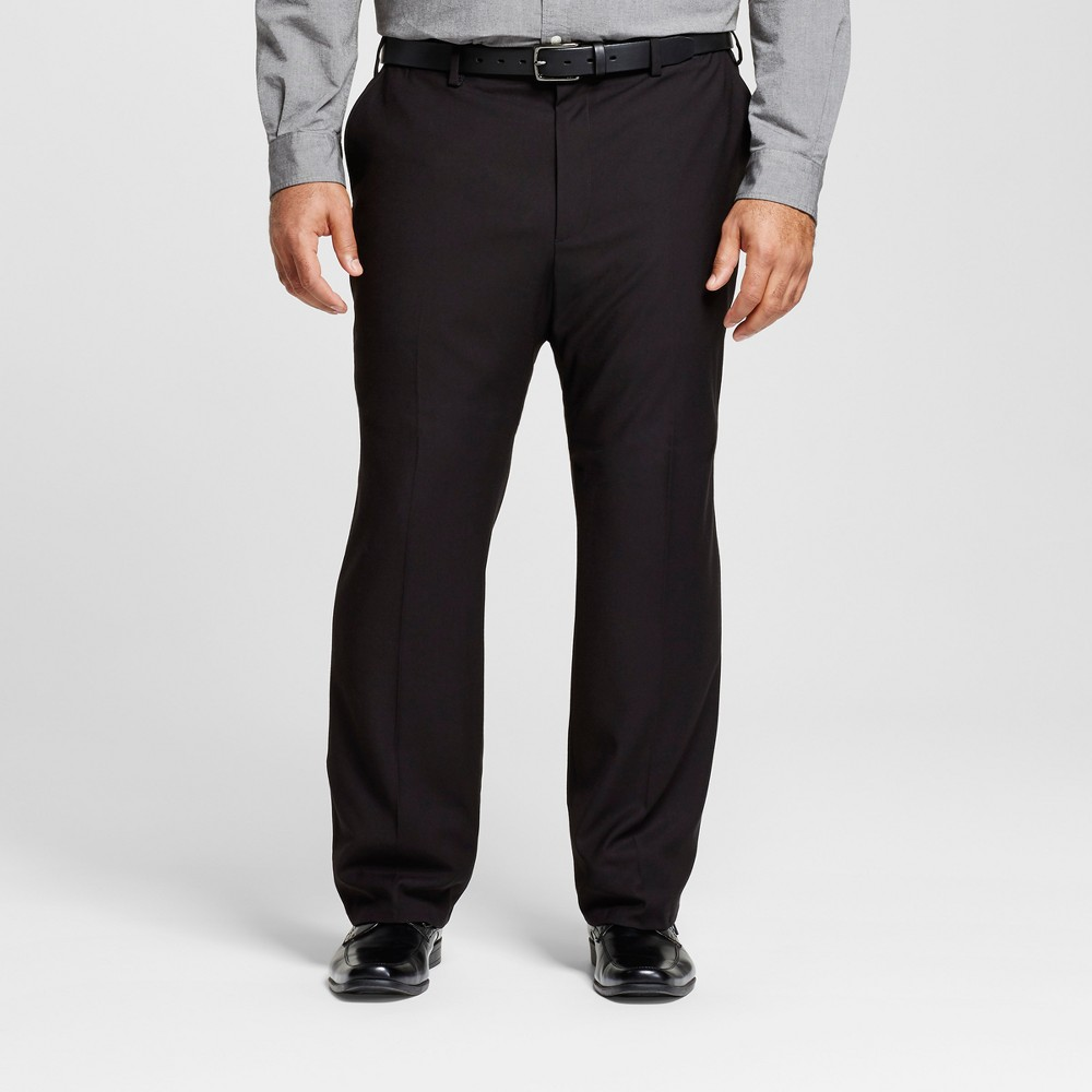 Mens Big & Tall Classic Fit Suit Pants - Merona Black 56x32
