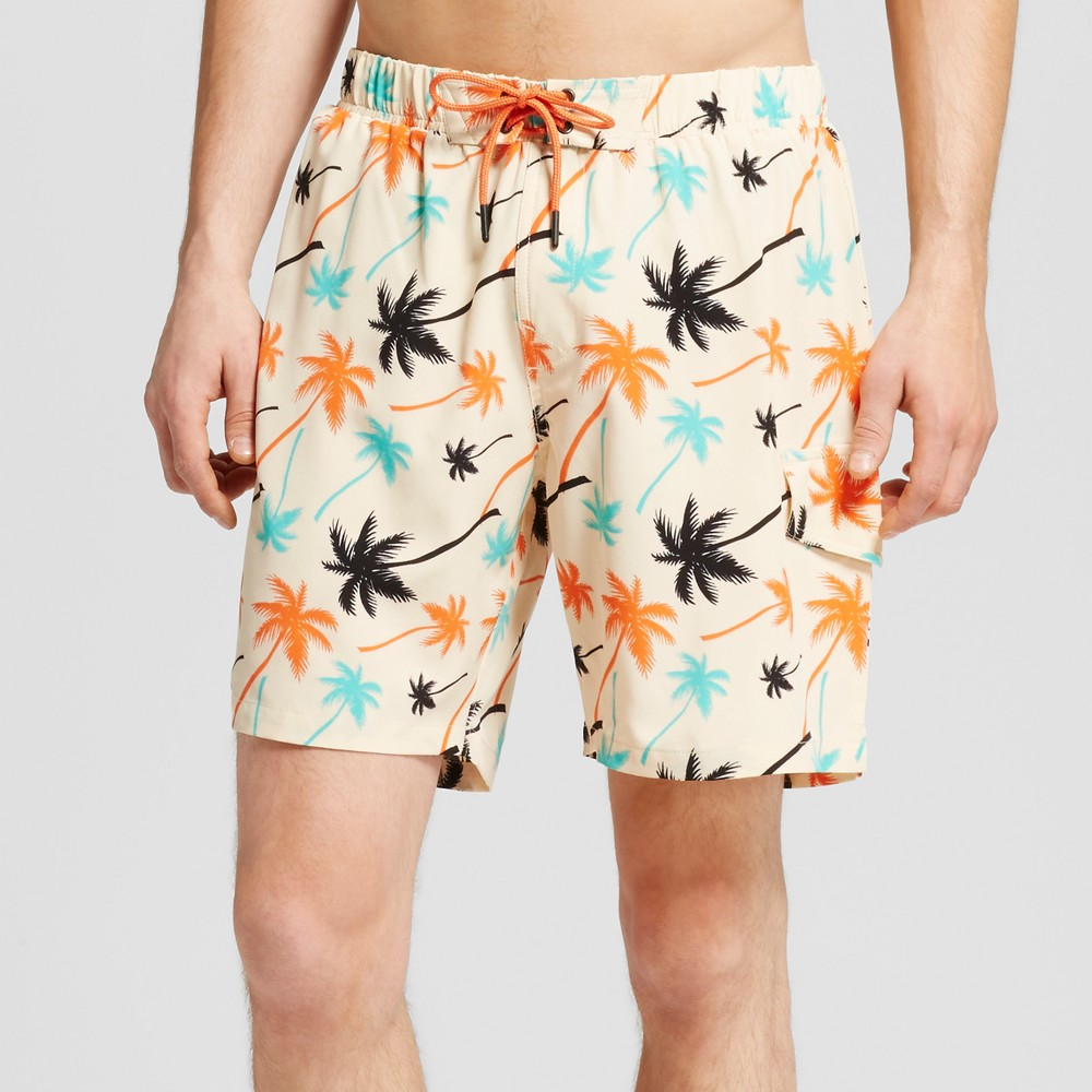 No Retreat Mens Palm Tree Print Cargo Swim Trunks - Sand L, Black White Orange