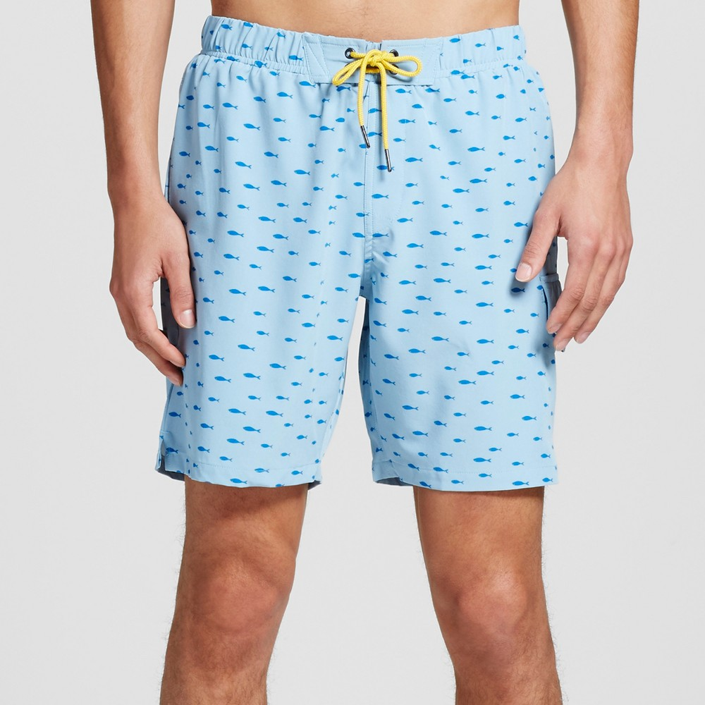 No Retreat Mens Fish Print Cargo Swim Trunks - Blue M