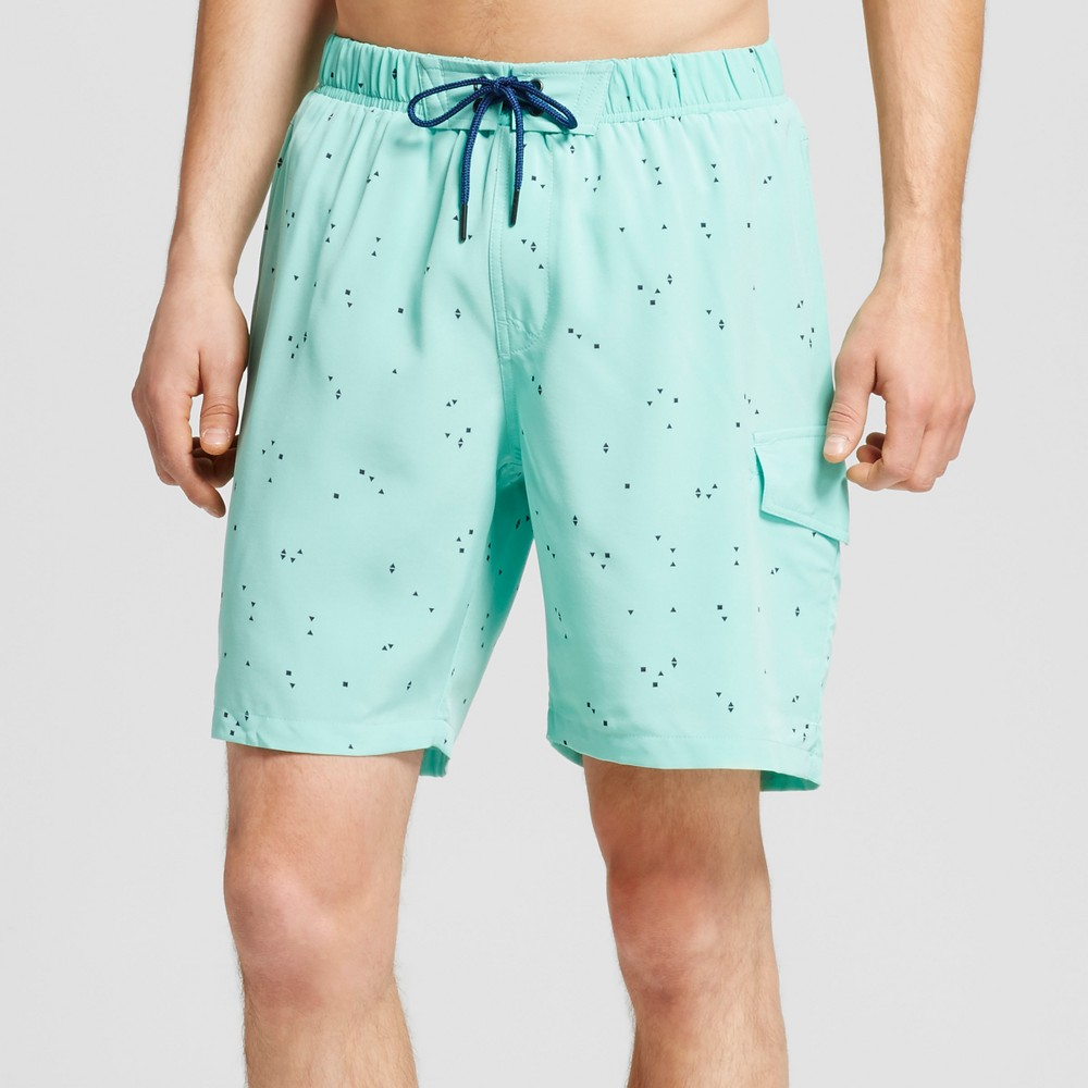 Mens Speckled Swim Trunks Mint XL - No Retreat, Blue