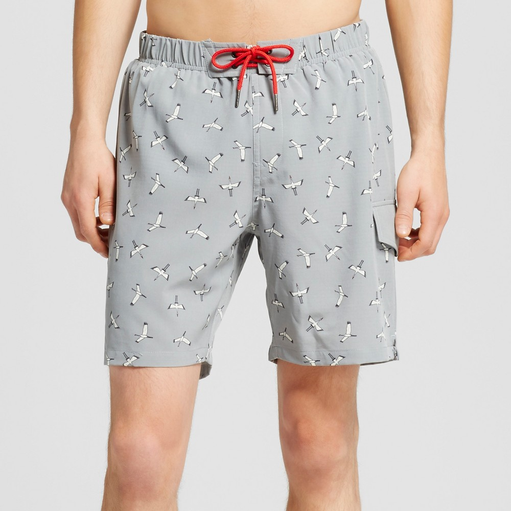 Mens Bird Print Cargo Swim Trunks Gray M - No Retreat, Gray White