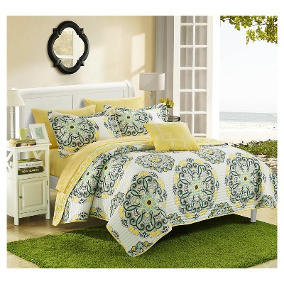 Miranda Microfiber Printed Medallion Reversible with Geometric Printed Backing Quilt Set 4 Piece (King)Yellow - Chic Home Design