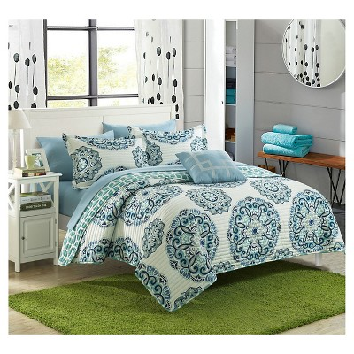 Miranda Microfiber Printed Medallion Reversible with Geometric Printed Backing Quilt Set 4 Piece (King)Green - Chic Home Design