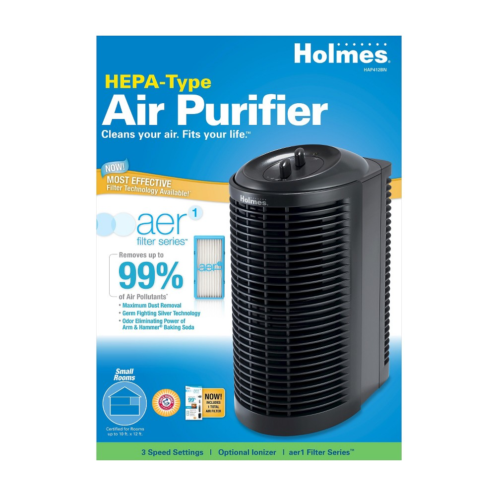 Holmes Hepa-Type Mini Tower Air Purifier HAP412BN-UA, Black