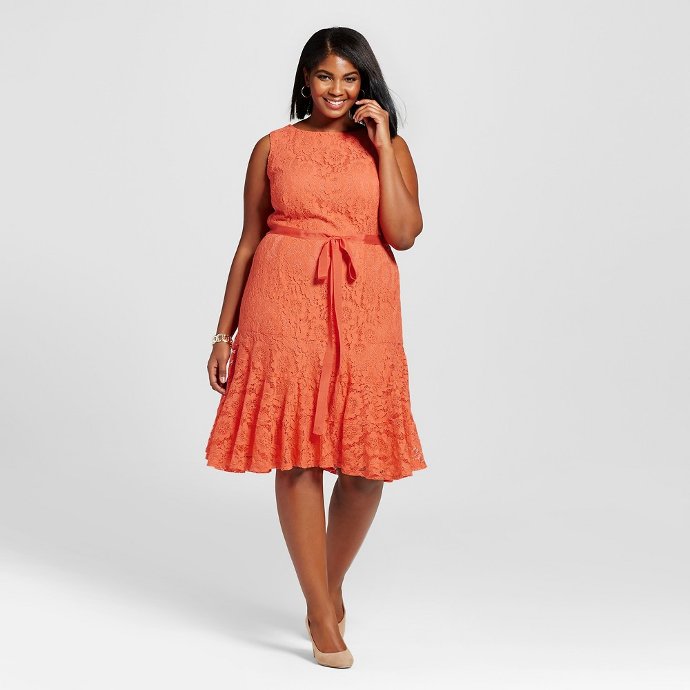 Women's Plus Size Lace Fit and Flare Dress Orange 18W – Melonie T