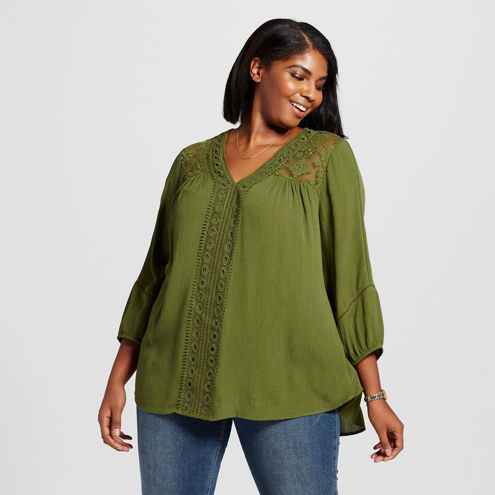 Women's Plus Size V-Neck Peasant Top Green 2X – John Paul Richard