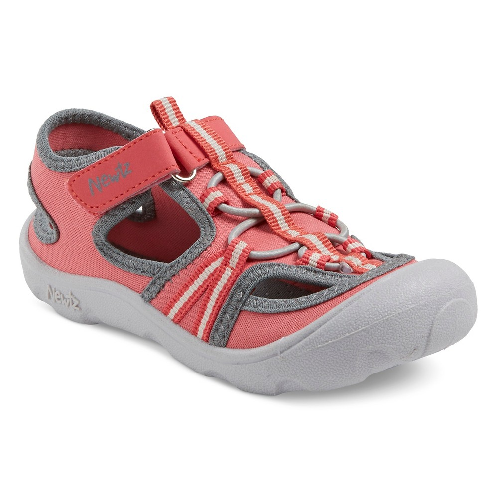 Toddler Girls Newtz Parker Open Water Shoes - Salmon/Gray 13-1, Pink