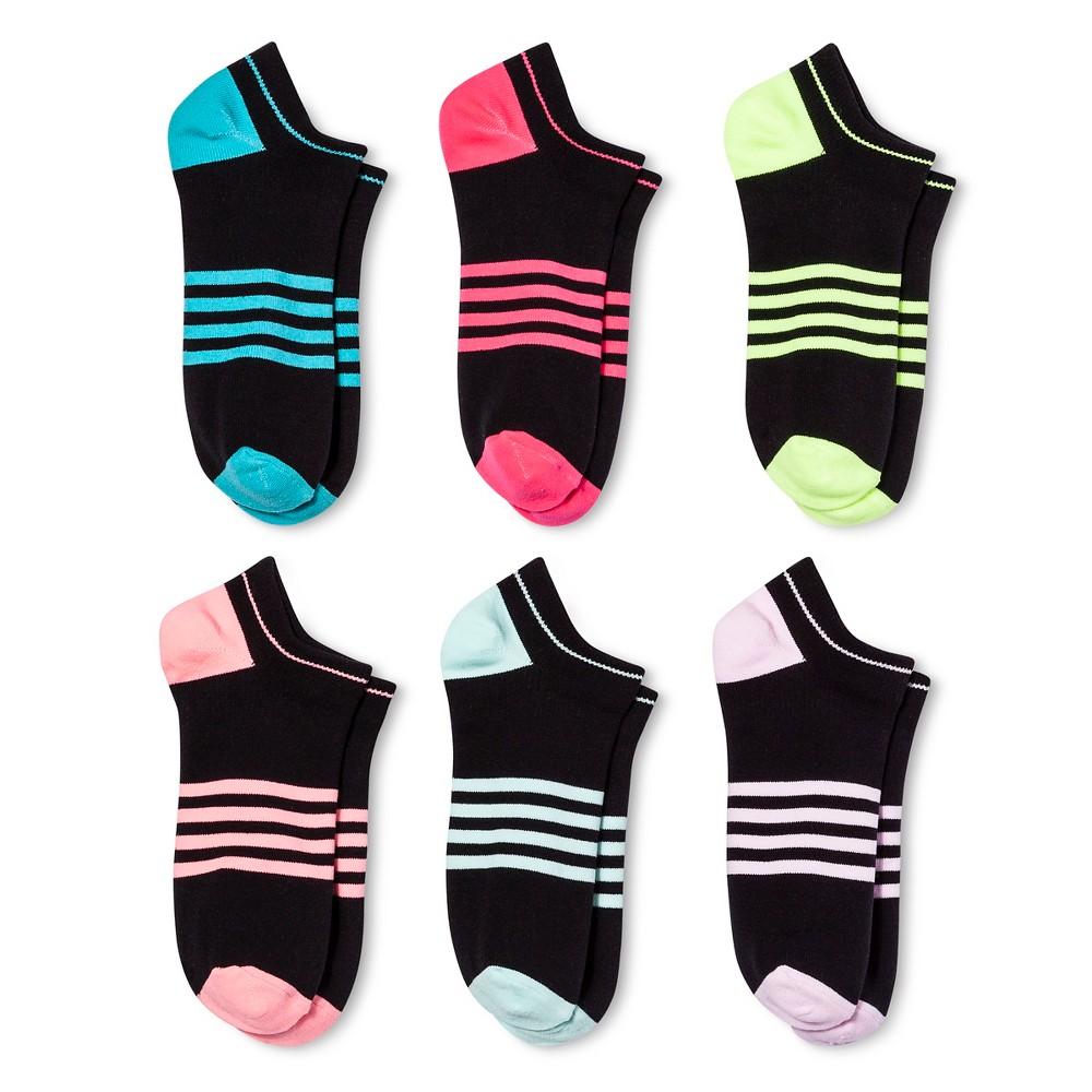 Women's 6-pk Socks Microfiber Stripe - Xhilaration - Black One Size