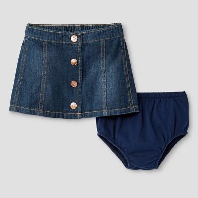 Baby Girls' Button-Front Denim Skirt - Cat & Jack™ Dark Wash 0-3 Months