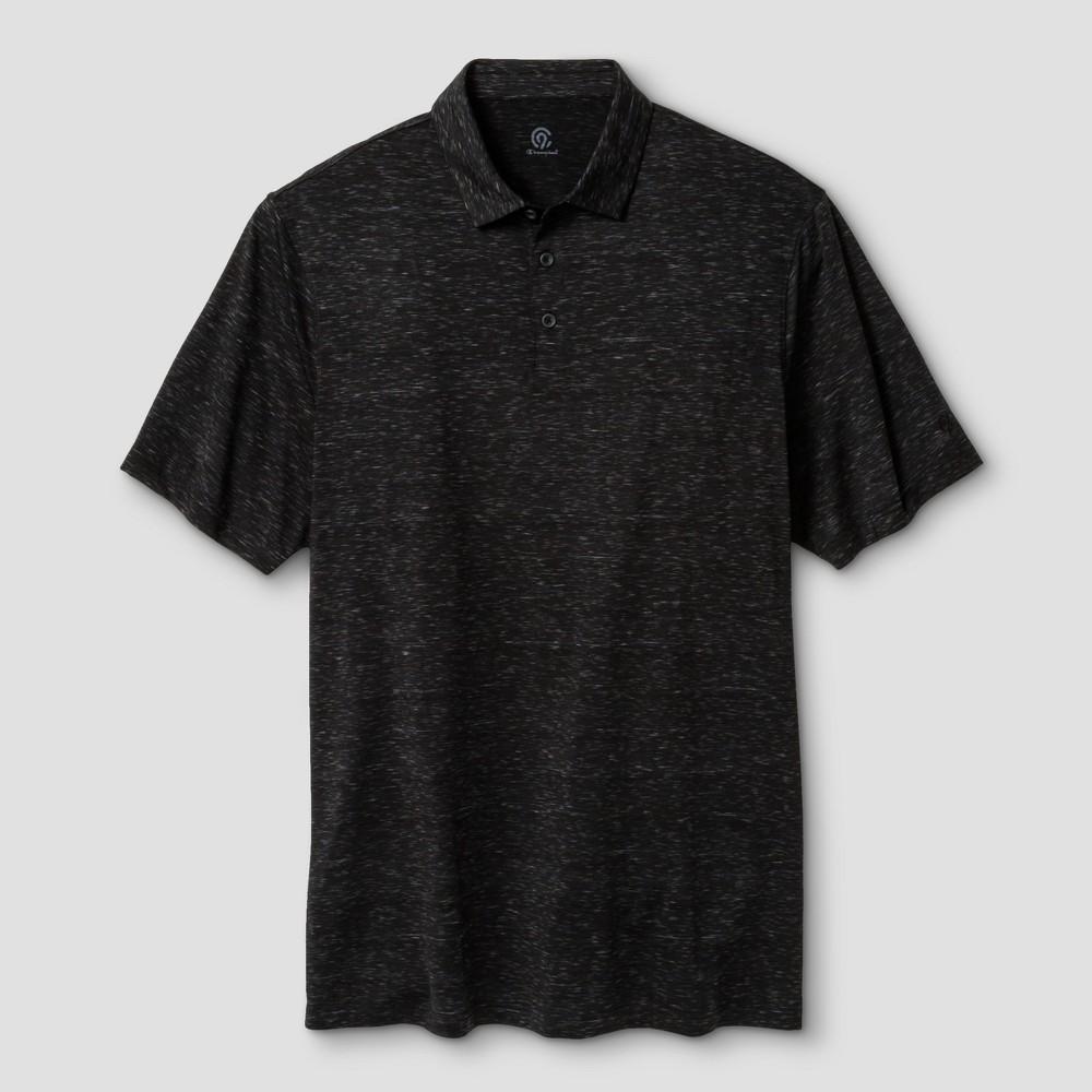 Men's Big & Tall Space Dye Golf Polo - C9 Champion - Black/Railroad Gray Space Dye 2XB