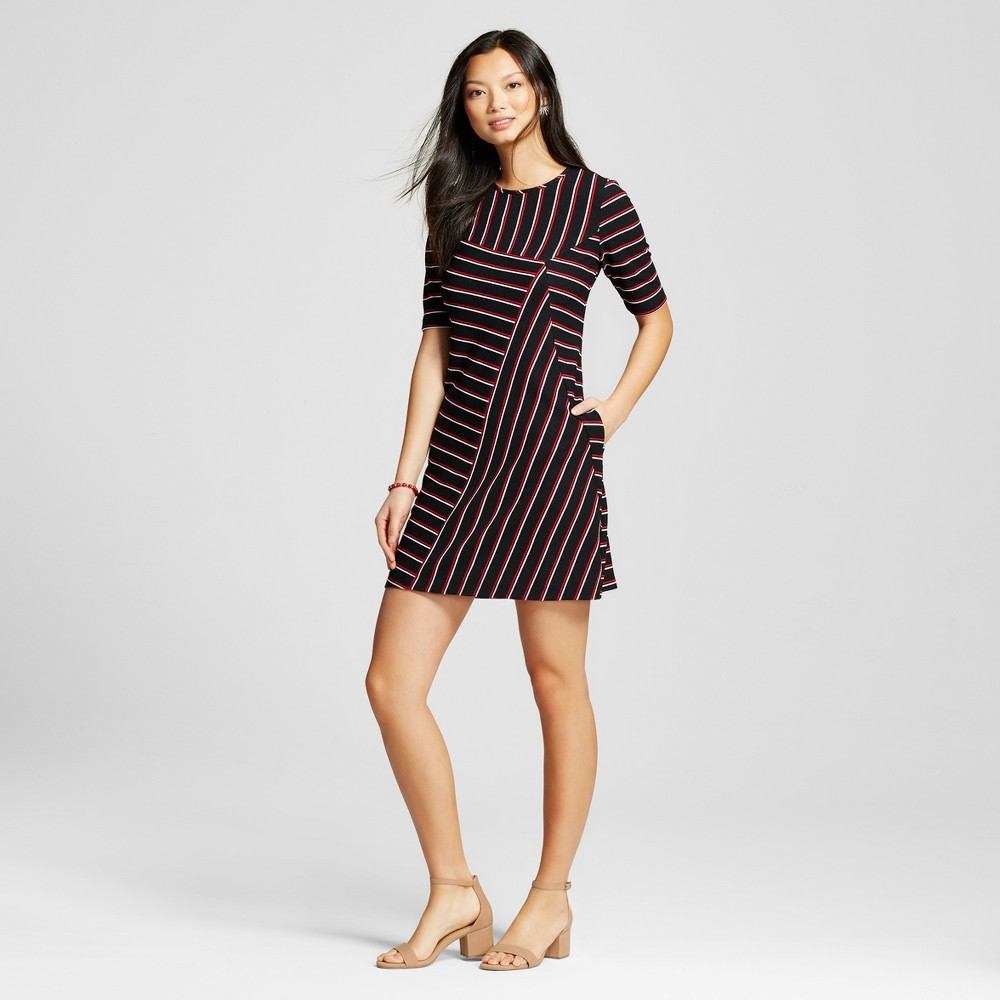 Women's Striped Asymmetrical Seam Shortsleeve Dress Black/Red 4 – Melonie T
