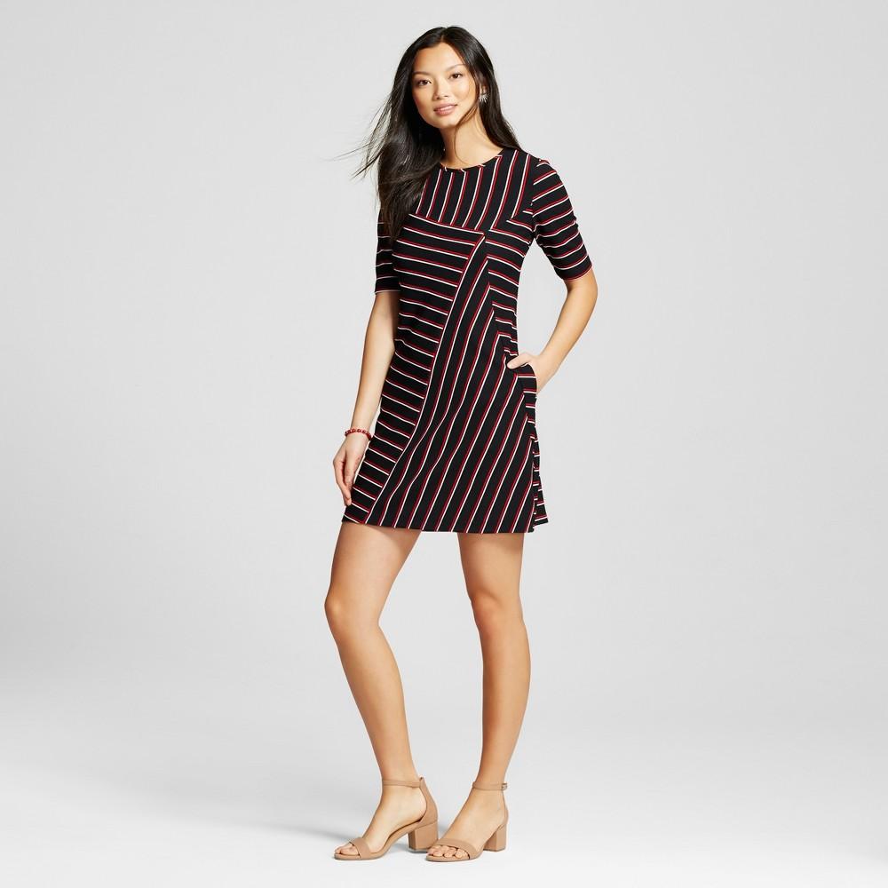 Women's Striped Asymmetrical Seam Shortsleeve Dress Black/Red 8 – Melonie T