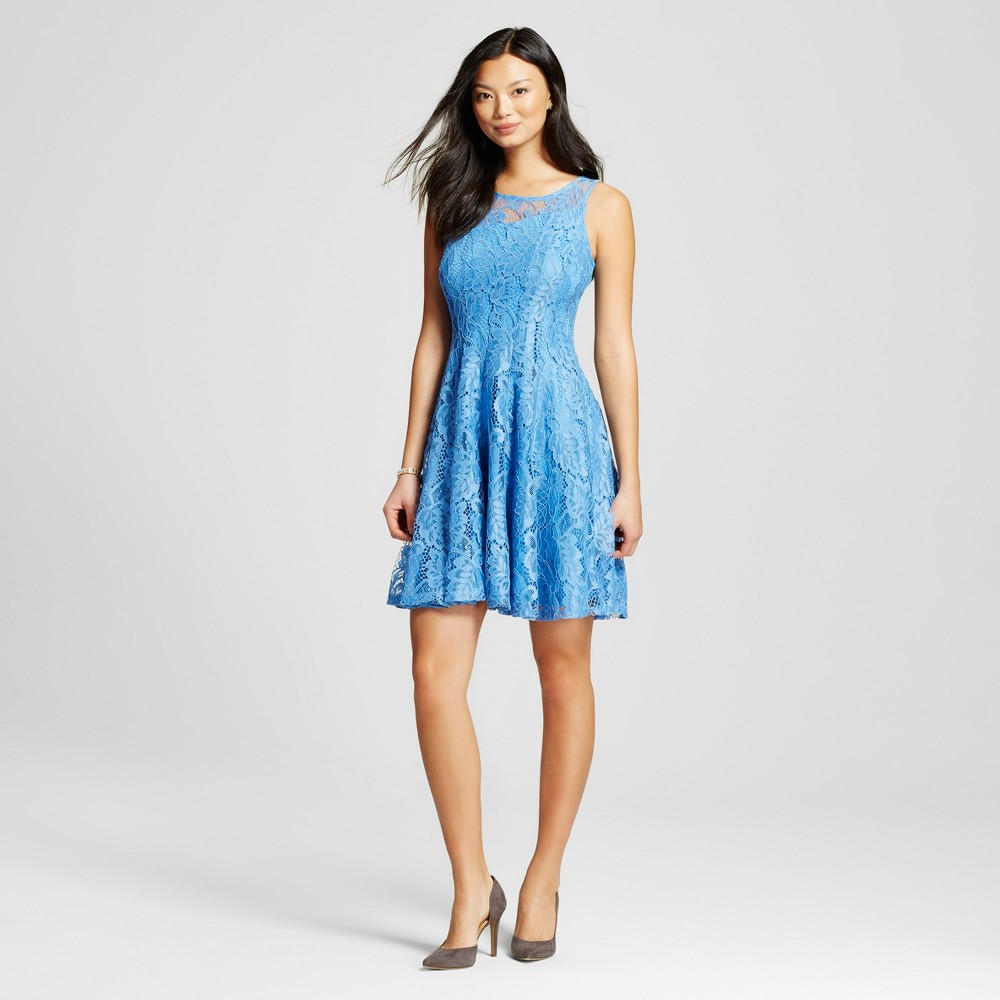 Women's Fit and Flare Lace Illusion Dress Light Blue 8 – Melonie T