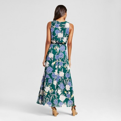 Women's Printed Maxi Dress Emerald Merona Floral S, Green