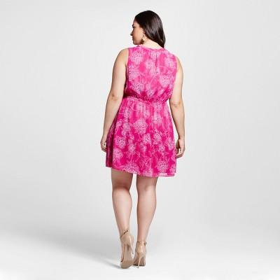 Women's Plus Size Floral Feminine Dress Pink Floral X - Merona, Springtime Pink