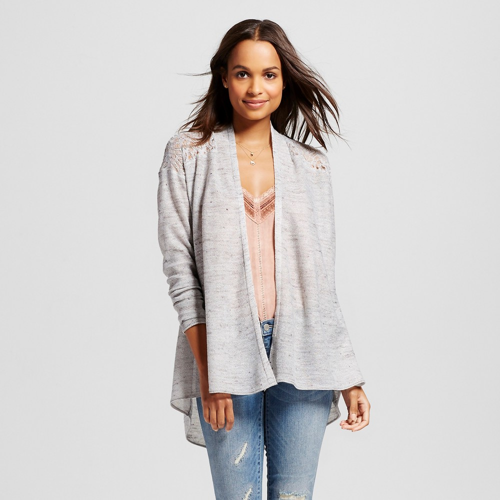 Women's Lightweight Pointelle Cardigan with Back Peplum – Knox Rose Gray M