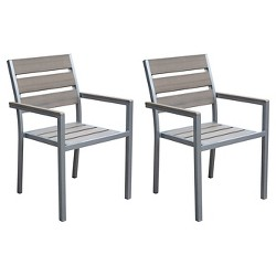 CorLiving Gallant Set of 2 Outdoor Dining Chairs - Sun Bleached Gray
