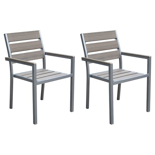 CorLiving Gallant Set of 2 Outdoor Dining Chairs Sun Bleached Gray Tar