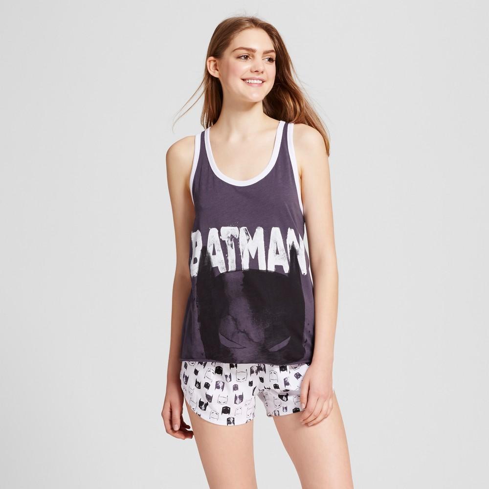 DC Comics Womens Batman Pajama Set - Gray/White L, Multicolored