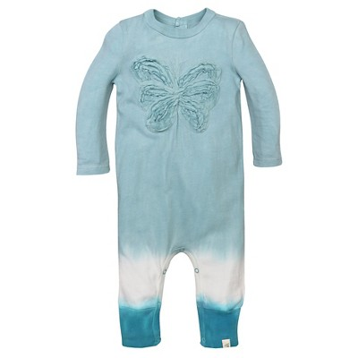 Burt's Bees Baby® Girls' Organic Frilly Butterfly Coverall - Aqua 6-9M
