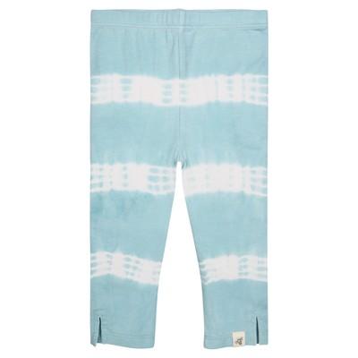 Burt's Bees Baby® Girls' Organic Tie Tye Stripe Capri Leggings - Aqua 3-6M
