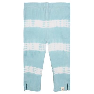Burt's Bees Baby® Girls' Organic Tie Tye Stripe Capri Leggings - Aqua 6-9M
