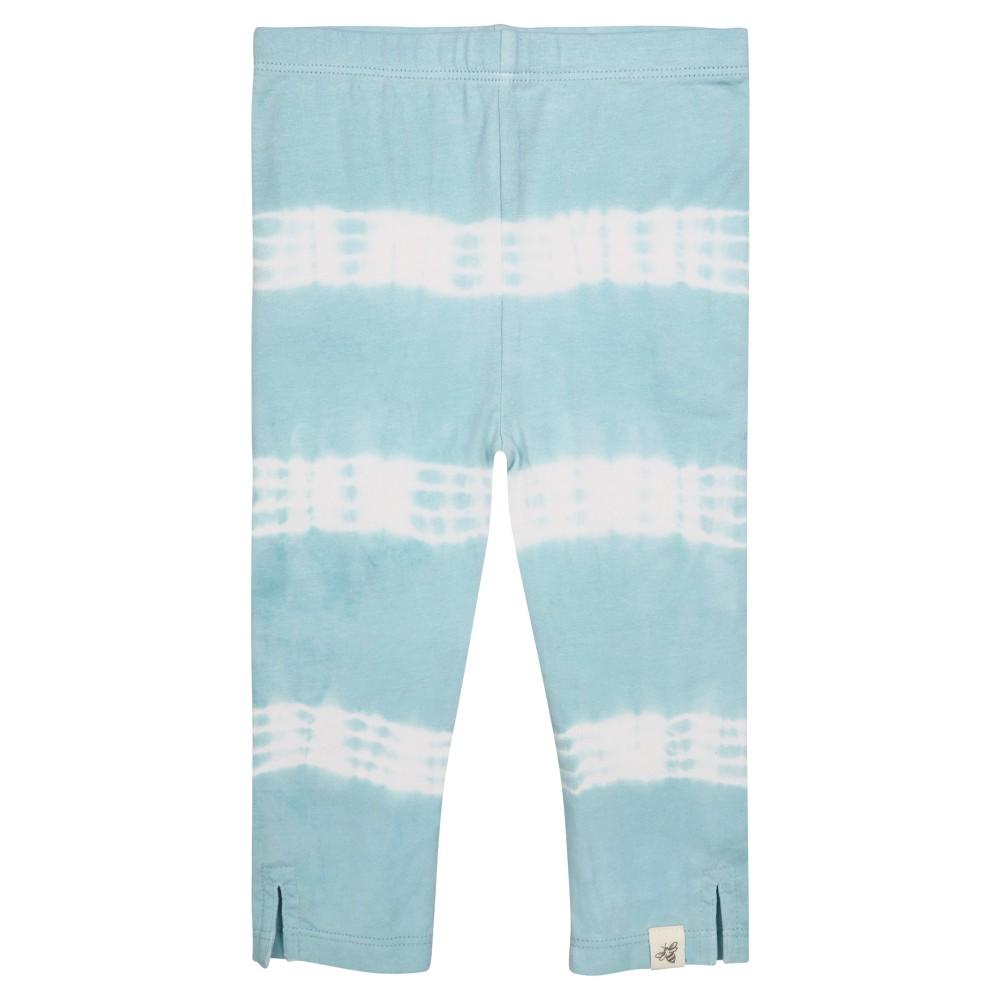 Burts Bees Baby Girls Organic Tie Tye Stripe Capri Leggings - Aqua 12M, Size: 12 Months, Blue