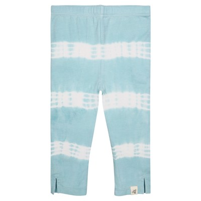 Burt's Bees Baby® Girls' Organic Tie Tye Stripe Capri Leggings - Aqua 0-3M