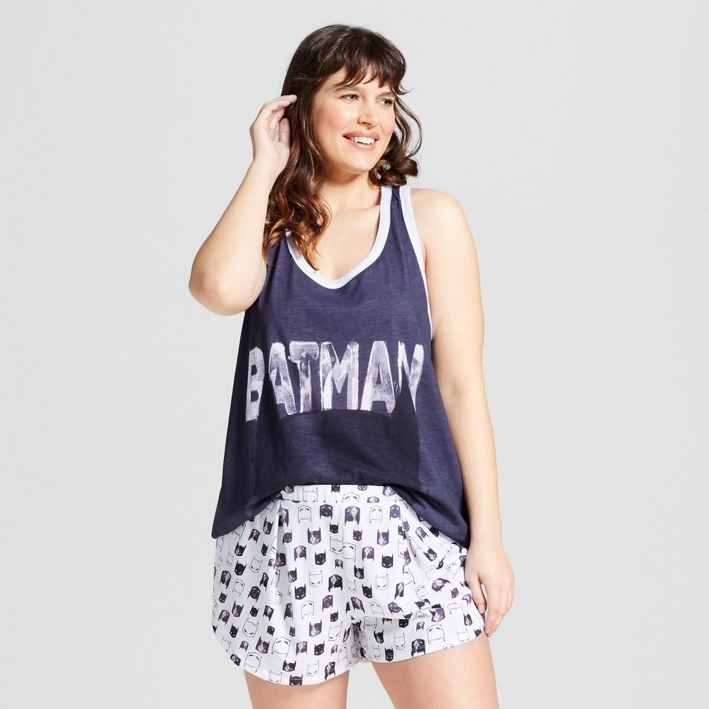 DC Comics Womens Plus Size Batman Pajama Set - Gray/White 1X, Multicolored