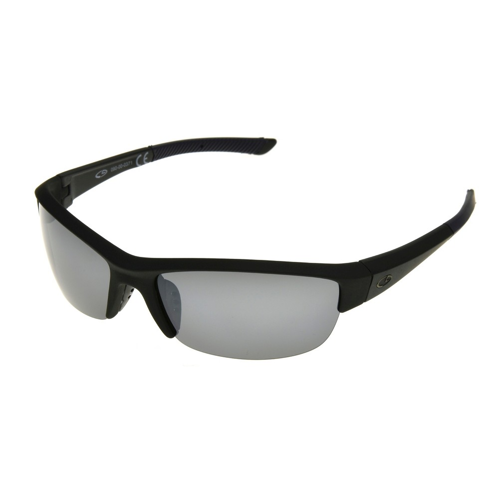 Mens Semi Rimless Polarized Performance Sunglasses with Smoke Lenses - Black - C9 by Champion