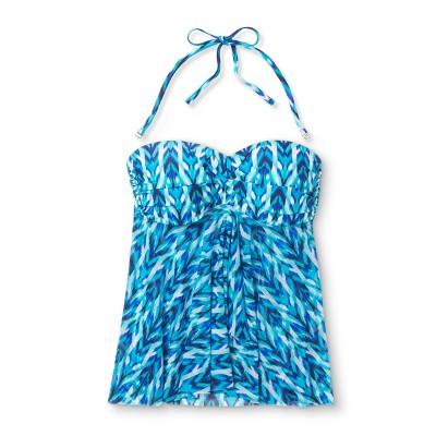 Women's Bandeau Flyaway Tankini Top - Blue Multi - M - Merona