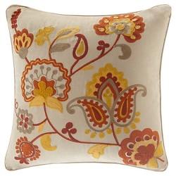 Tan Floral Throw Pillow