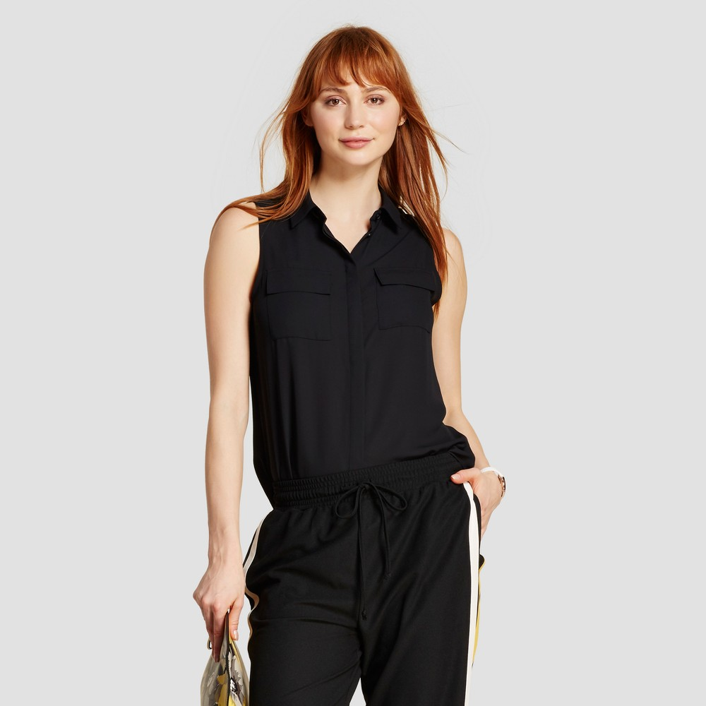 Womens Sleeveless Button Up - Who What Wear - Black XS