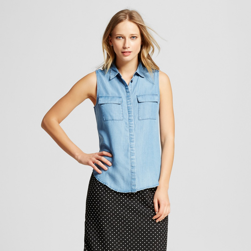 Womens Sleeveless Button Up - Who What Wear - Blue XL, Chambray
