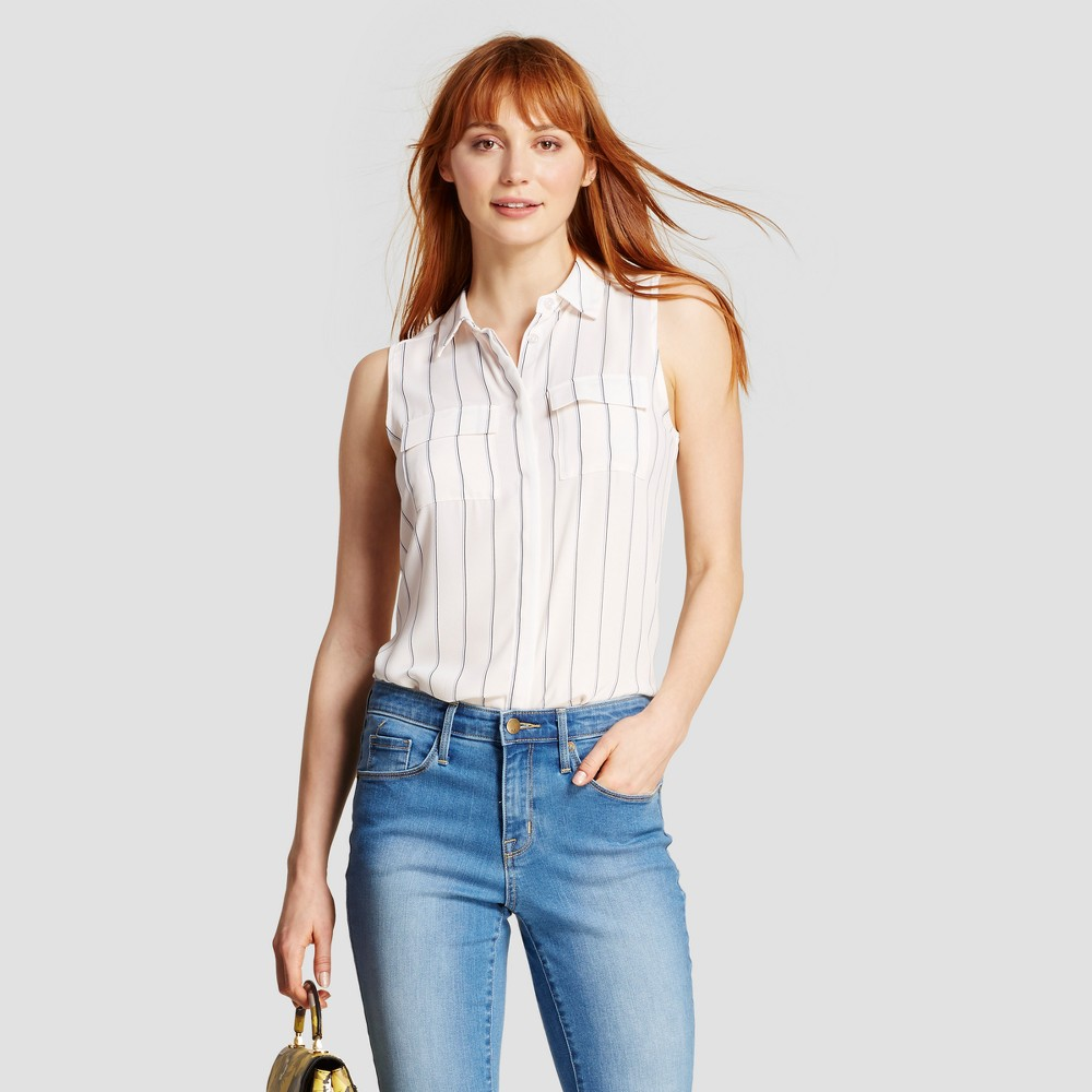 Womens Sleeveless Button Up - Who What Wear - Cream (Ivory) M