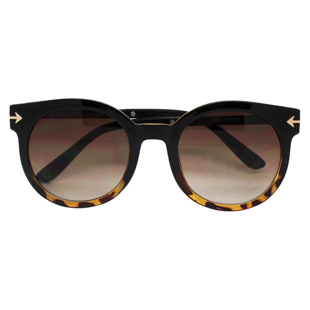 Womens Round Sunglasses - Black/Tort
