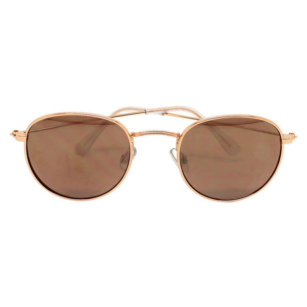 Womens Round Sunglasses - Rosegold Mirror, Rose Gold