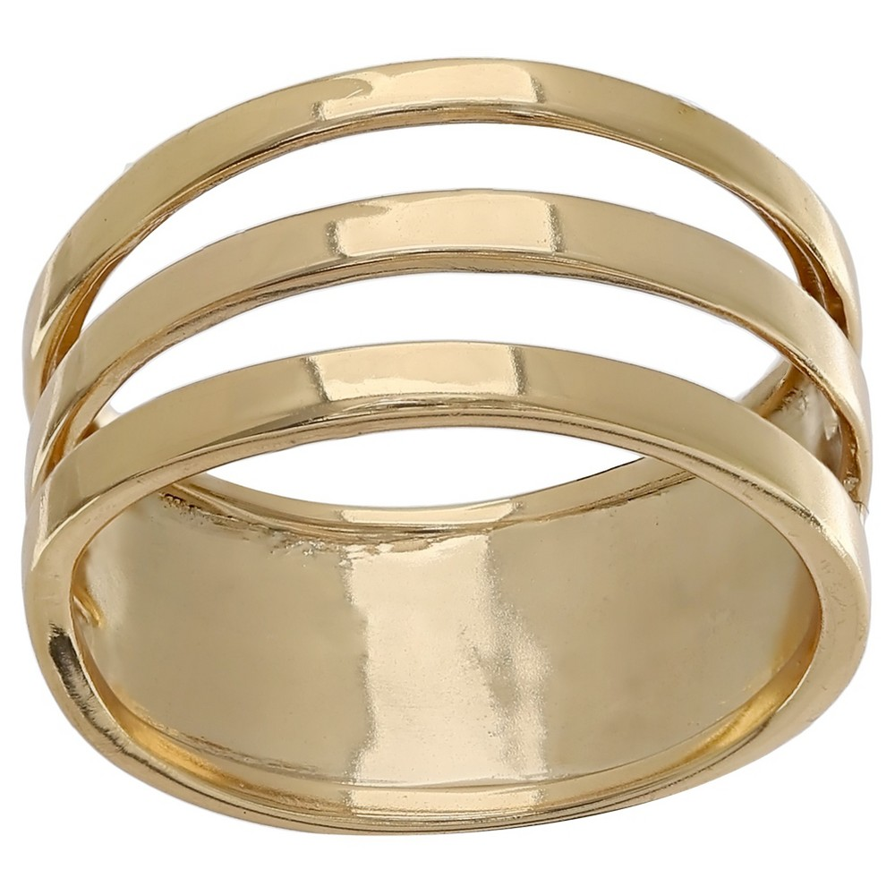 Womens Polished Triple Band Ring in Gold Over Sterling Silver - Yellow (Size 8)