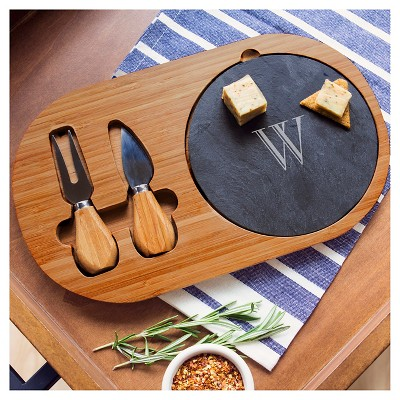 Cathy's Concepts Personalized Bamboo & Slate Cheese Board Set with Utensils - S, Wood