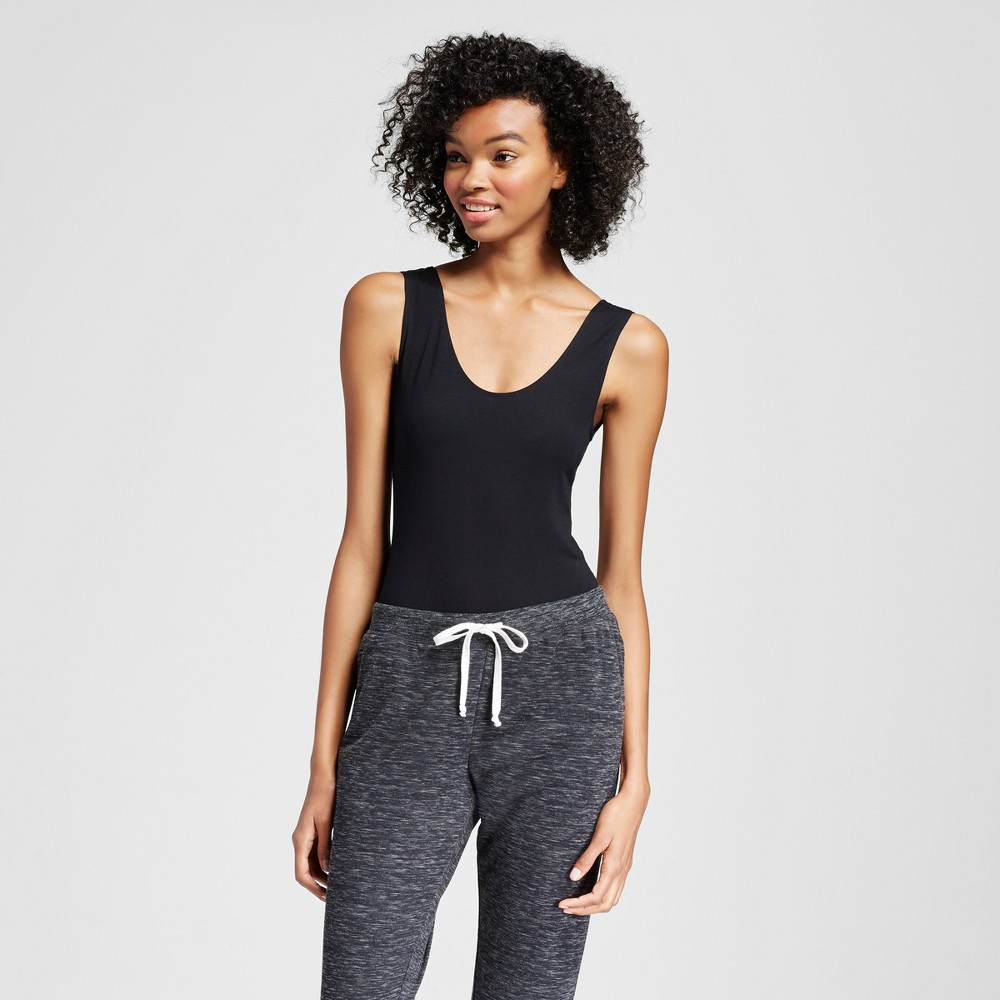 Sweet Treats Womens Sporty Elastic Back Bodysuit - Black XS