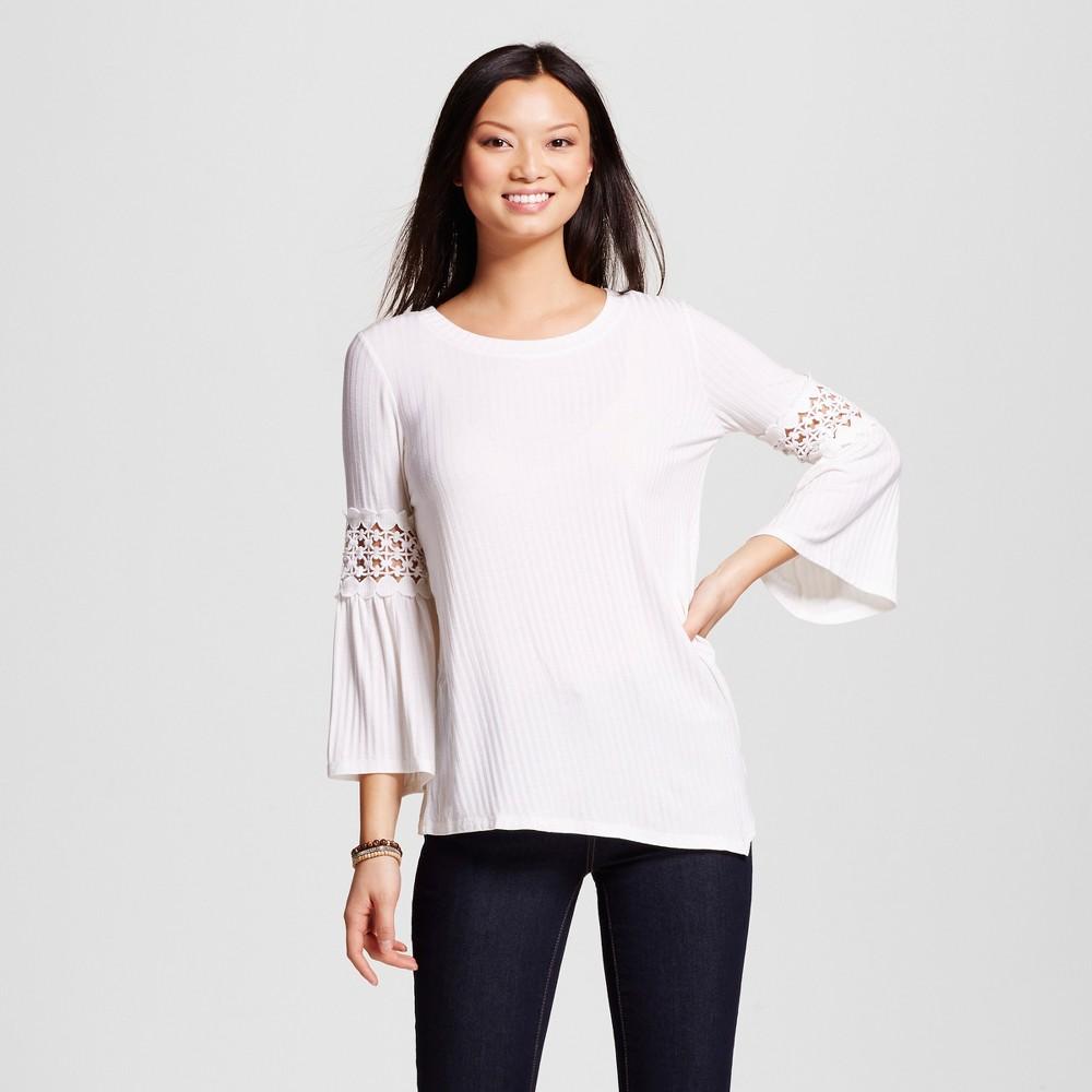 Women's Crochet Embellished Long Sleeve Knit Top White XL – John Paul Richard