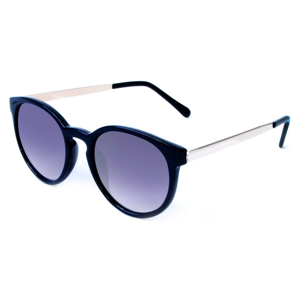 Round Plastic Sunglasses With Metal Temples - Black, Womens