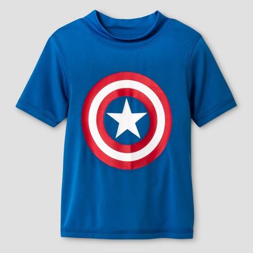 Toddler Boys' Captain America Logo Rash Guard Set - Blue 3T, Toddler Boy's