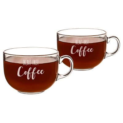 Cathy's Concepts®  OK, But First Coffee  Large 22oz Glass Mug Set of 2