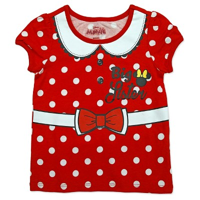 Minnie Mouse Toddler Girls' Big Sis T-Shirt - Red 5T