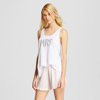 Love and Cherish Women's Mrs. Tank Pajama Set - White L